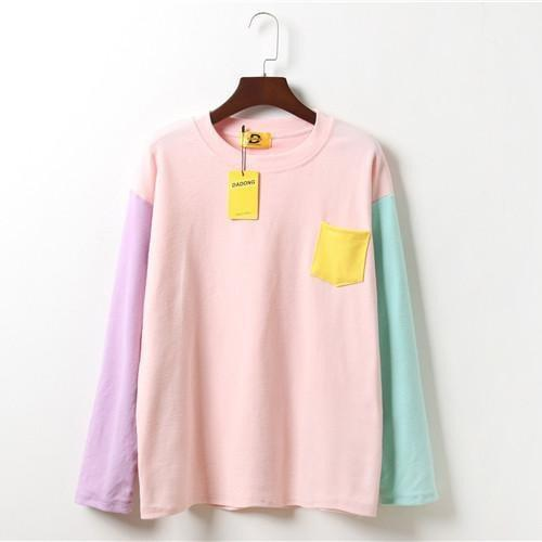 itGirl Shop PASTEL COLORS BUST POCKET LONG SLEEVE