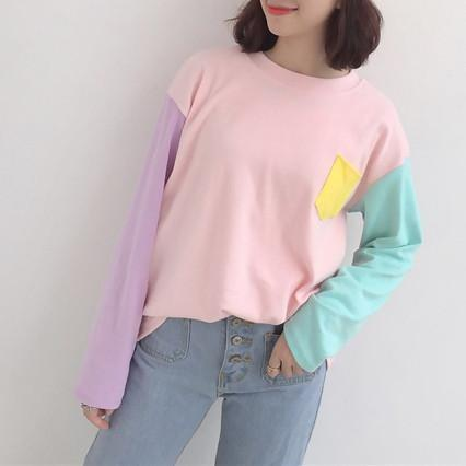 Buy Cheap Aesthetic Clothing PASTEL COLORS BUST POCKET LONG SLEEVE Sale 30% OFF itGirl Shop itgirlclothing.com