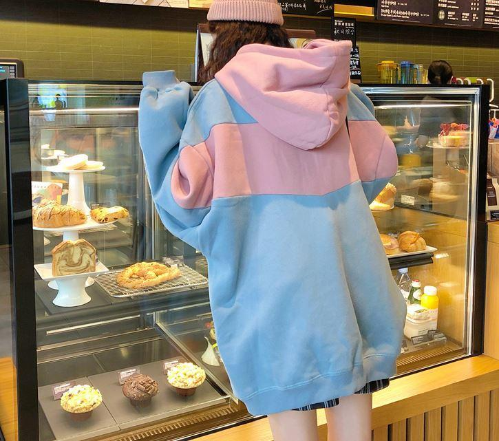 itGirl Shop PASTEL COLORS STRIPES SPORTISH HOODIE