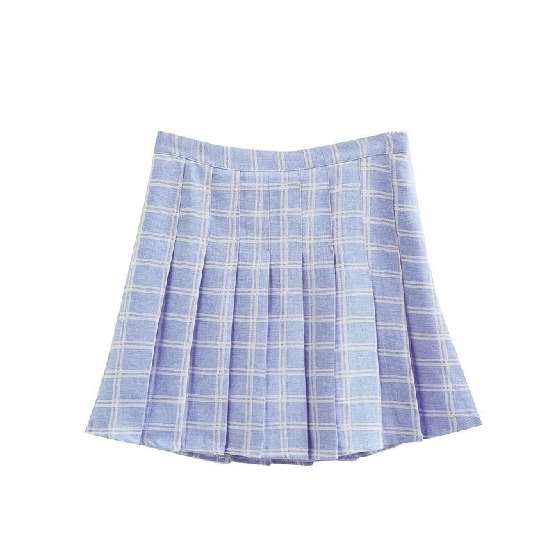 itGirl Shop PASTEL COLOURS POPPY DOUBLE LINES PLAID PLEATED SCHOOL SKIRT