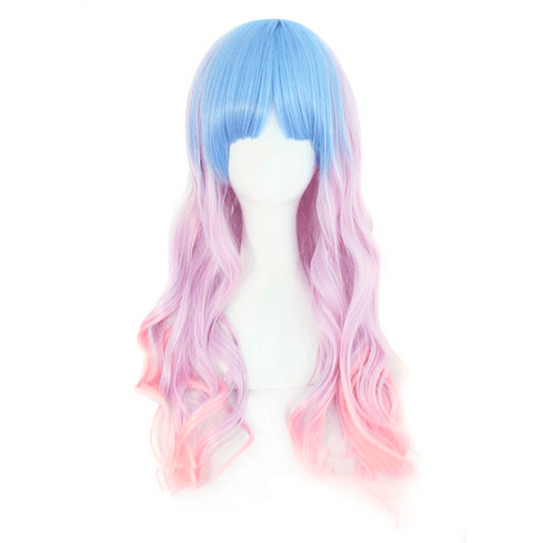 itGirl Shop PASTEL FAIRY FAUX COLOURFUL LONG WAVY WIG