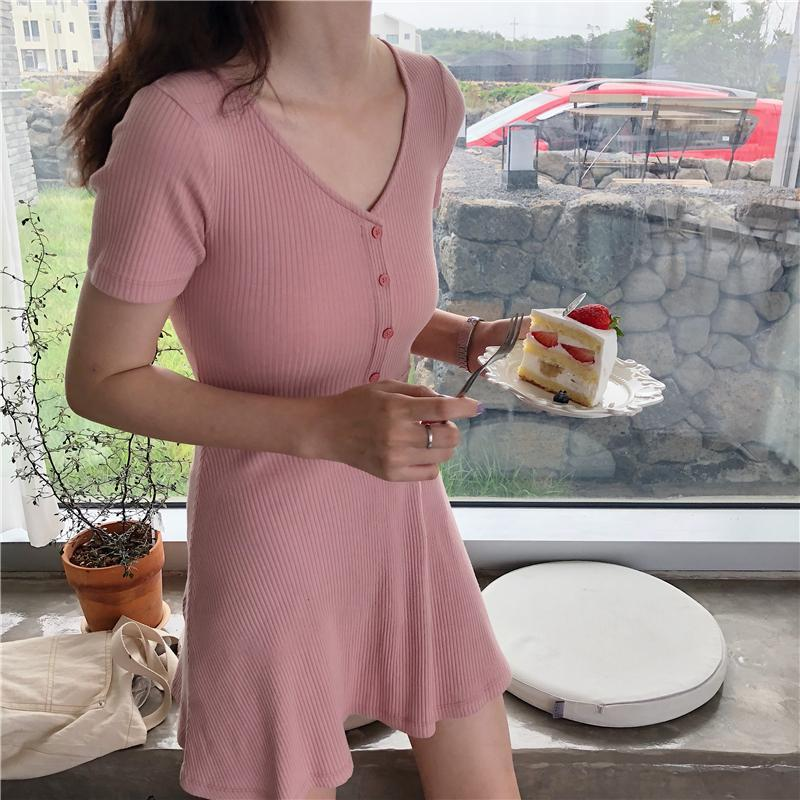 itGirl Shop PASTEL PINK CHEST BUTTONS SUMMER COTTON SLIM DRESS