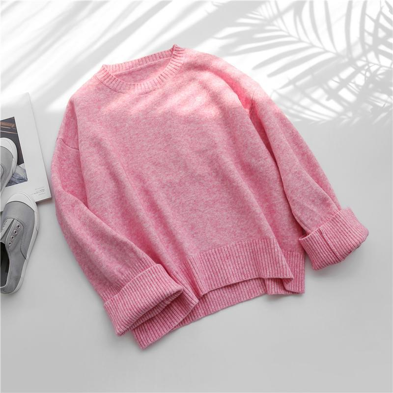 itGirl Shop PASTEL RAINBOW COLORS LOOSE O-NECK SWEATER