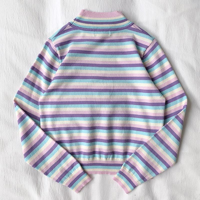 itGirl Shop PASTEL STRIPES AESTHETIC TURTLENECK KNIT SWEATER