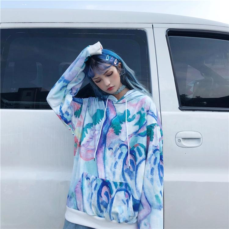 itGirl Shop PASTEL TIE DYE COLORFUL HOODED OVERSIZED SWEATSHIRT