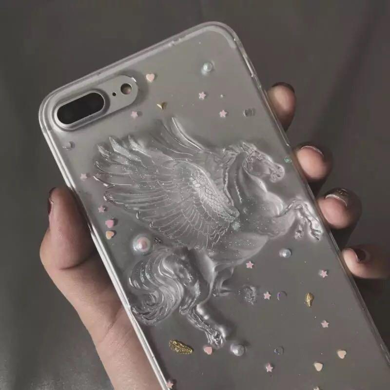 itGirl Shop PEGASUS VOLUME TRANSPARENT SPARKLE STARS IPHONE CASE