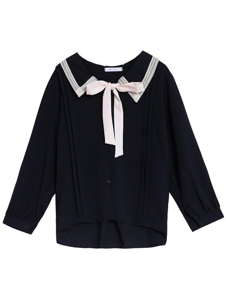 itGirl Shop PETER PAN COLLAR BLACK BOW TIE BLOUSE