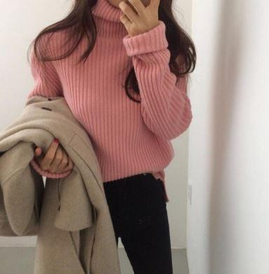 itGirl Shop PINK BEIGE WHITE HIGH TURTLE NECK RIBBED SWEATER