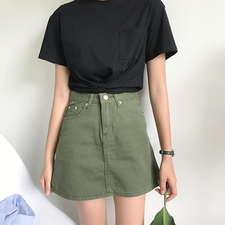 itGirl Shop PINK BLACK GREEN DENIM ABOVE KNEE JEAN SKIRT