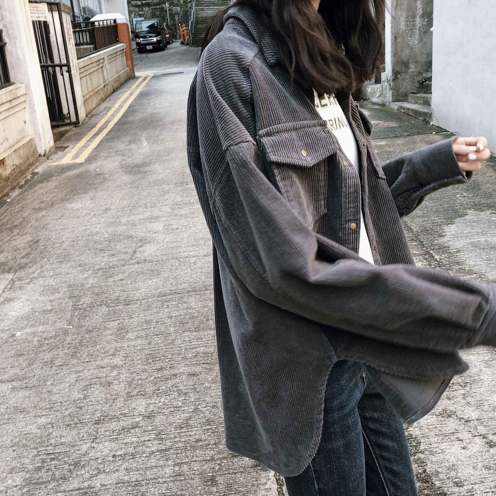 itGirl Shop PINK DARK GRAY CORDUROY RETRO OUTWEAR BREAST POCKETS JACKET