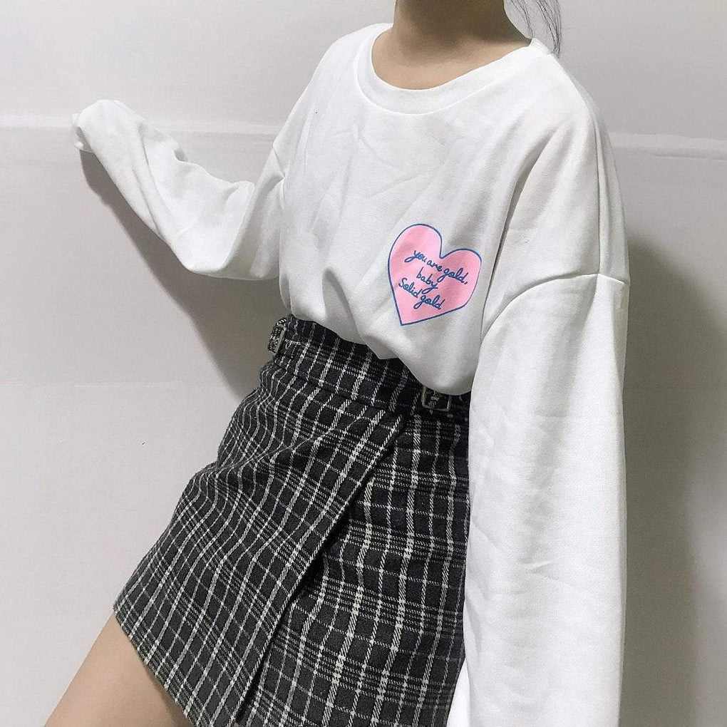 itGirl Shop PINK HEART PATCHES BLUE PINK WHITE O-NECK OVERSIZED SWEATSHIRT