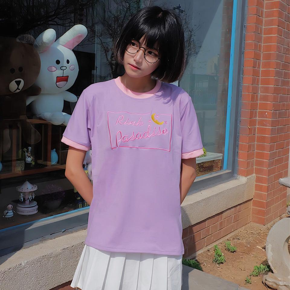 itGirl Shop PINK PARADISE PASTEL COLORS MOON EMBROIDERY KAWAII T-SHIRT