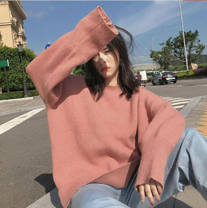 itGirl Shop PINK SIDE CUTS OVERSIZED ROUND NECK KNITTED SWEATER