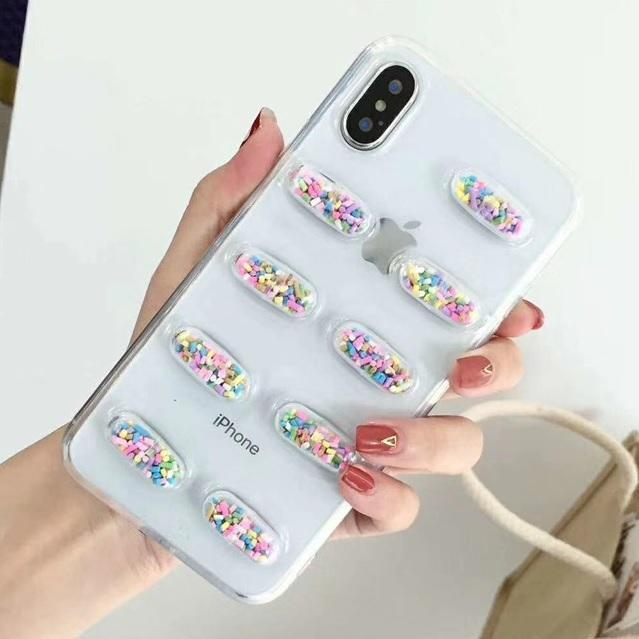 itGirl Shop PINK SPARKLES CAPSULE PILLS TRANSPARENT IPHONE COVER
