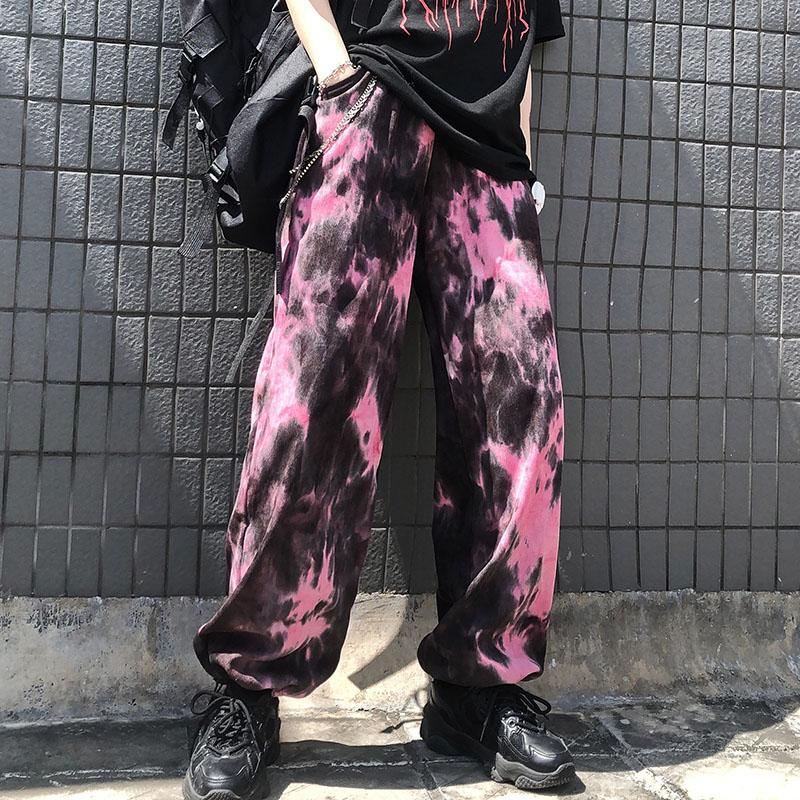 itGirl Shop PINK TIE DYE PRINTED STREET FASHION JOGGER PANTS