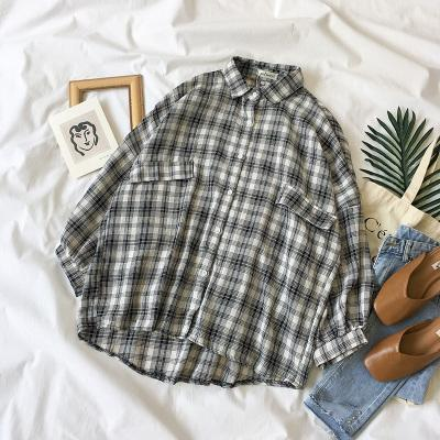 itGirl Shop PLAID BREAST POCKETS COUNTRY LOOSE CLASSIC SHIRT