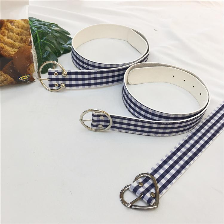 itGirl Shop PLAID COZY BW MARNA CUTE GIRLY BELT