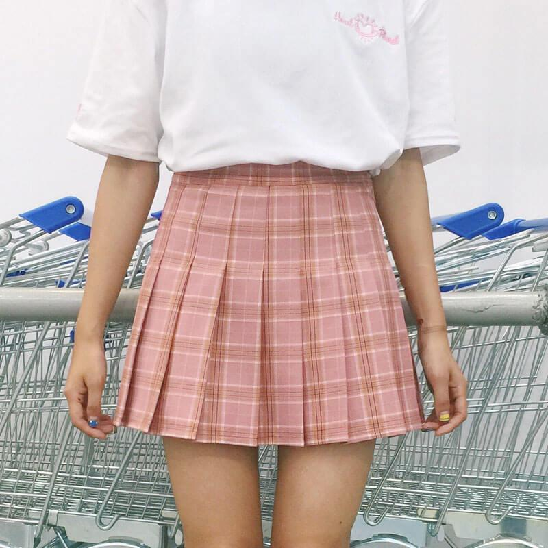 itGirl Shop PLAID CUTE SCHOOL STYLE PLEATED SKIRT Aesthetic Apparel, Tumblr Clothes, Soft Grunge, Pastel goth, Harajuku fashion. Korean and Japan Style looks