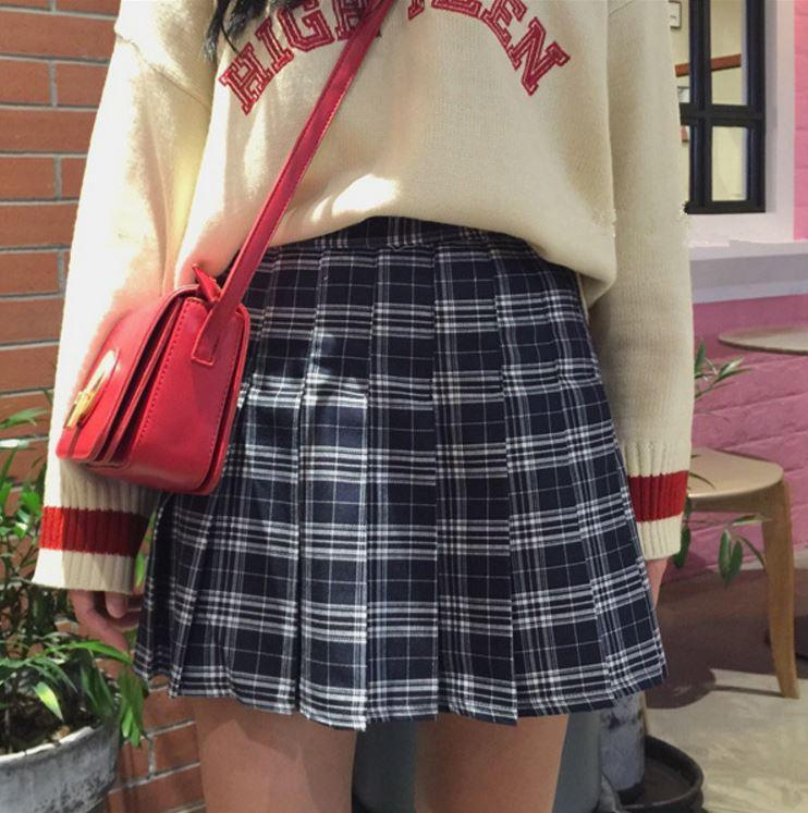 itGirl Shop PLAID CUTE SCHOOL STYLE PLEATED SKIRT