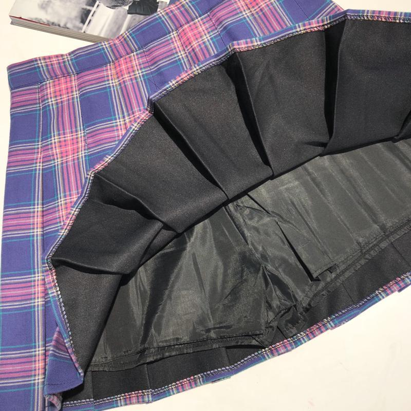 itGirl Shop PLAID HIGH-WAIST PLEATED SKIRT