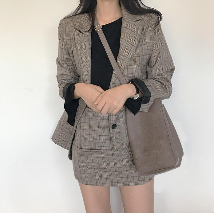 itGirl Shop PLAID JACKET 2 in 1 SKIRT SET OFFICE STYLE GRAY TARTAN Aesthetic Apparel, Tumblr Clothes, Soft Grunge, Pastel goth, Harajuku fashion. Korean and Japan Style looks