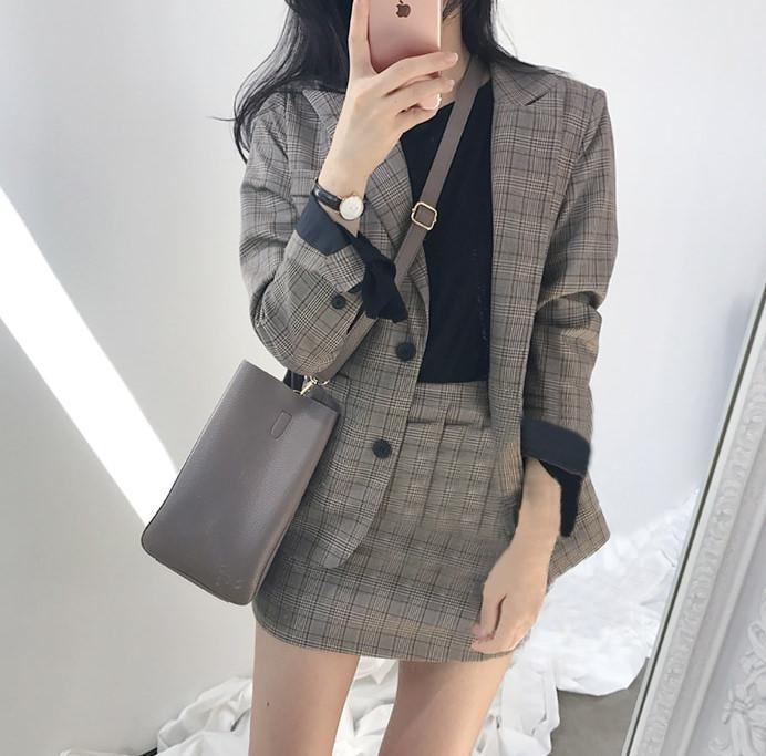 itGirl Shop PLAID JACKET 2 in 1 SKIRT SET OFFICE STYLE GRAY TARTAN