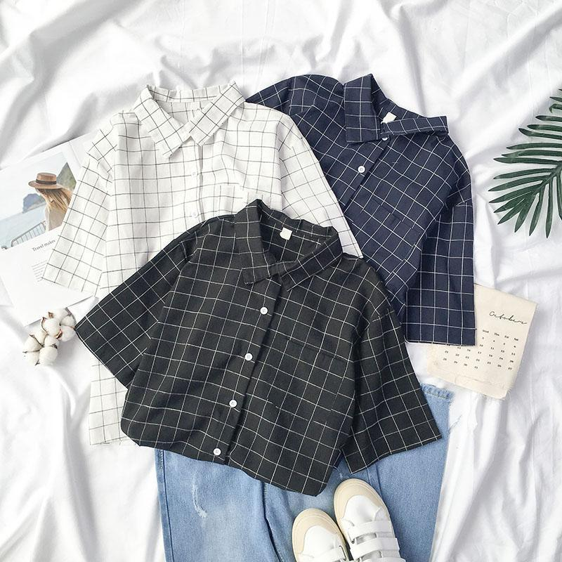 itGirl Shop PLAID MINIMALISTIC WHITE BLACK BLUE SHIRT