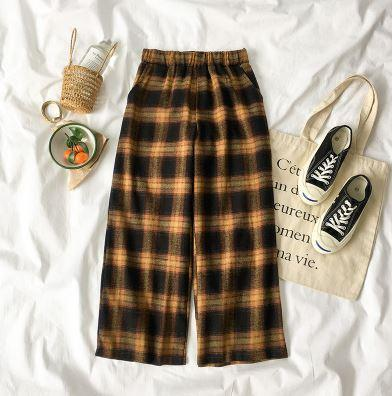 itGirl Shop PLAID OVERSIZED ELASTIC WAIST PANTS