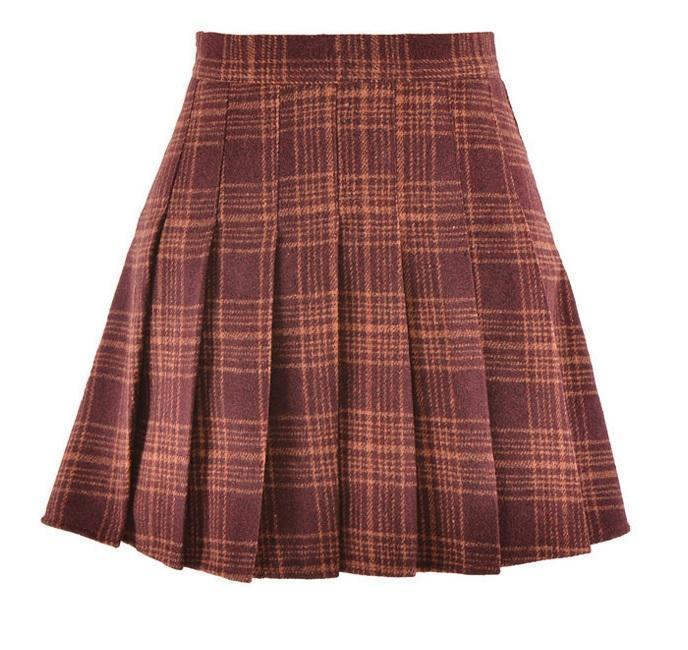 itGirl Shop PLAID SCHOOL STYLE 6 COLORS PLEATHED SKIRT