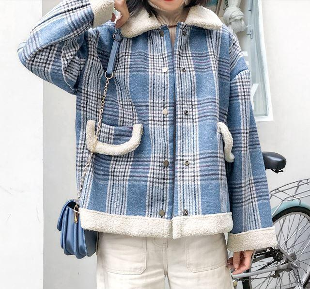 itGirl Shop PLAID WARM WHITE FAUX COLLAR OUTWEAR JACKET