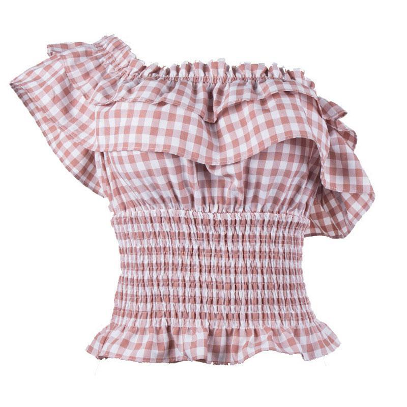 itGirl Shop PLAID WAVY COLLAR HUGE BAND ELASTIC BLOUSE