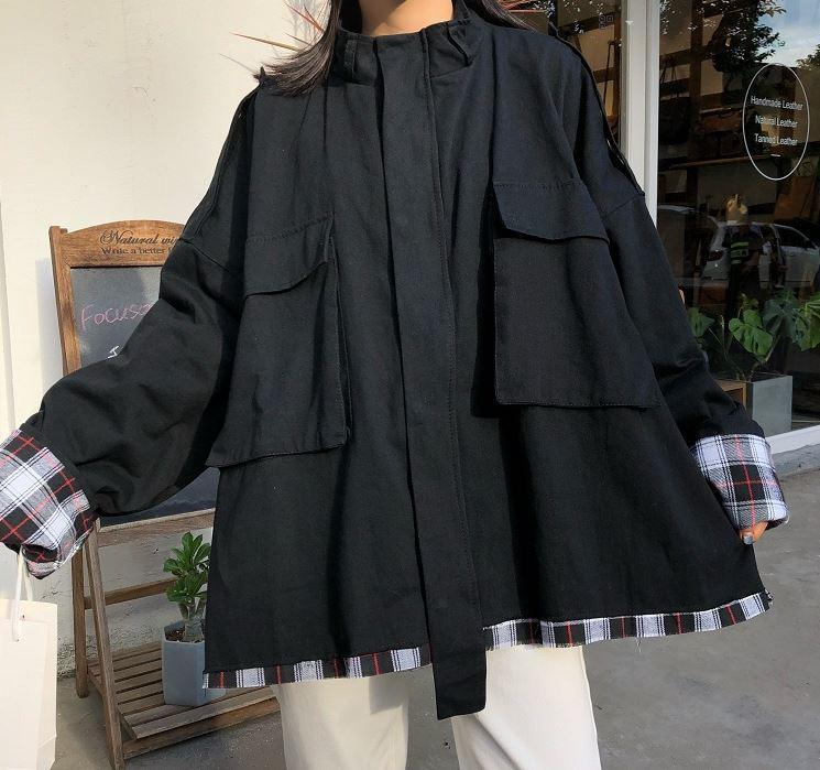 itGirl Shop PLAID WINDBREAKER HOODED OVERSIZED COAT JACKET