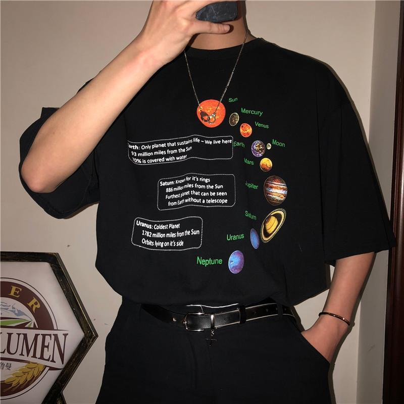 PLANETS COSMIC SOLAR SYSTEM PRINT OVERSIZED T-SHIRT