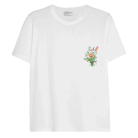 itGirl Shop PLANT FLOWERS EMBROIDERY PATCH TSHIRT