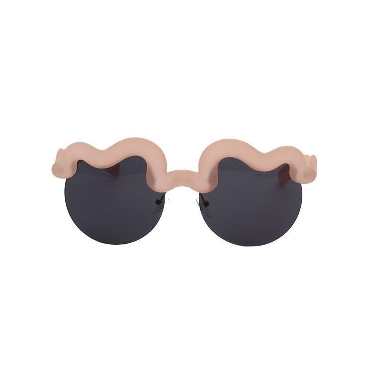 itGirl Shop PLASTIC WAVE BROW FRAME ROUND TROPICAL SUNGLASSES