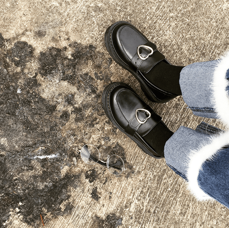 itGirl Shop PLATFORM HEART BUCKLE BLACK LEATHER CLOSED BOOTS Aesthetic Apparel, Tumblr Clothes, Soft Grunge, Pastel goth, Harajuku fashion. Korean and Japan Style looks