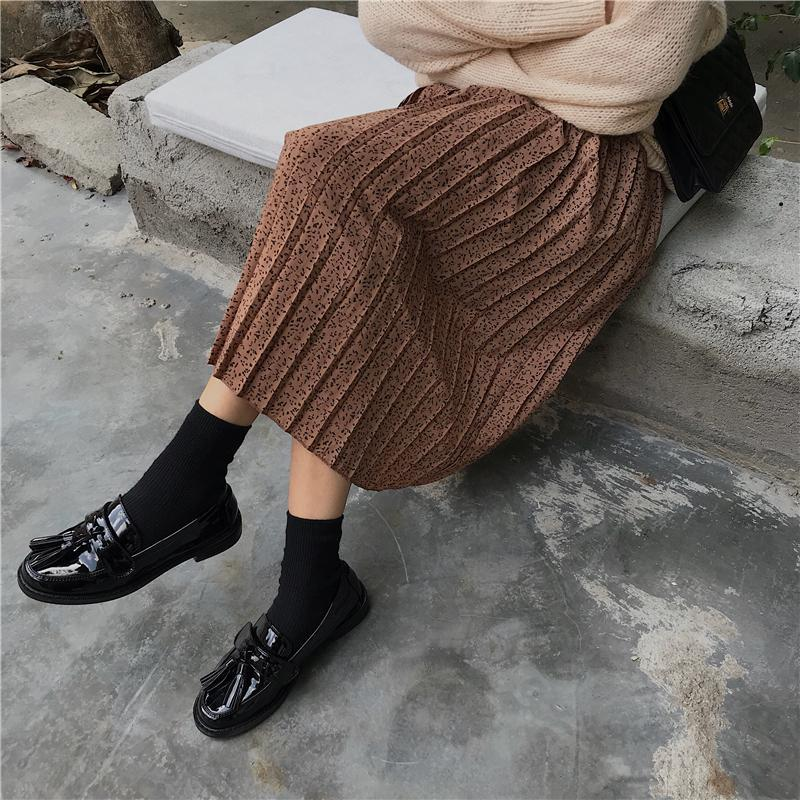itGirl Shop PLEATED LONG BLACK BROWN HIGH WAIST SKIRT