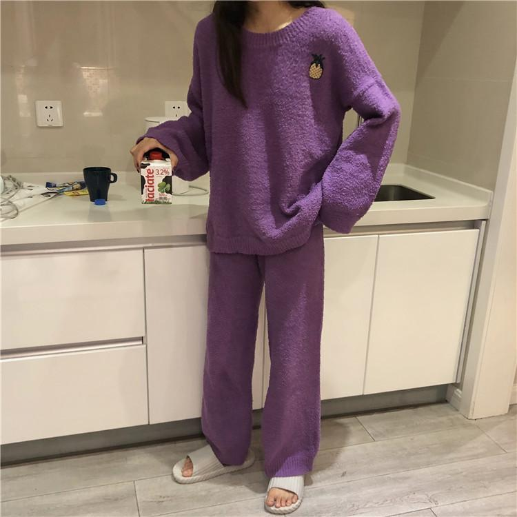 itGirl Shop PLUSH COMFY CUTE EMBROIDERIES PAJAMA SUIT