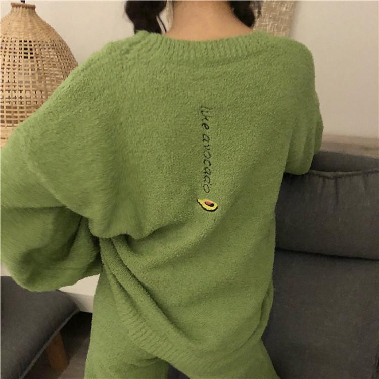 PLUSH COMFY CUTE EMBROIDERIES PAJAMA SUIT