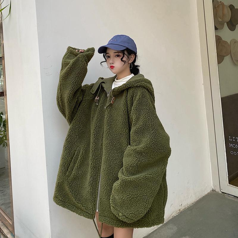 itGirl Shop PLUSH FAUX FUR DOUBLE SIDED OVERSIZED GREEN BLACK JACKET