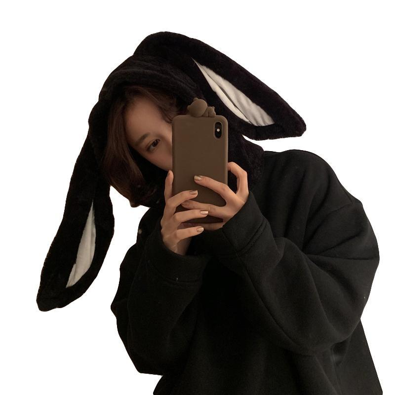 itGirl Shop PLUSH RABBIT BIG EARS HOOD BLACK OVERSIZED SWEATSHIRT