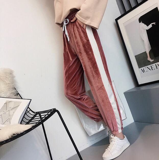 itGirl Shop PLUSH VELVET WHITE STRIPES ELASTIC WAIST SPORT STYLE PANTS