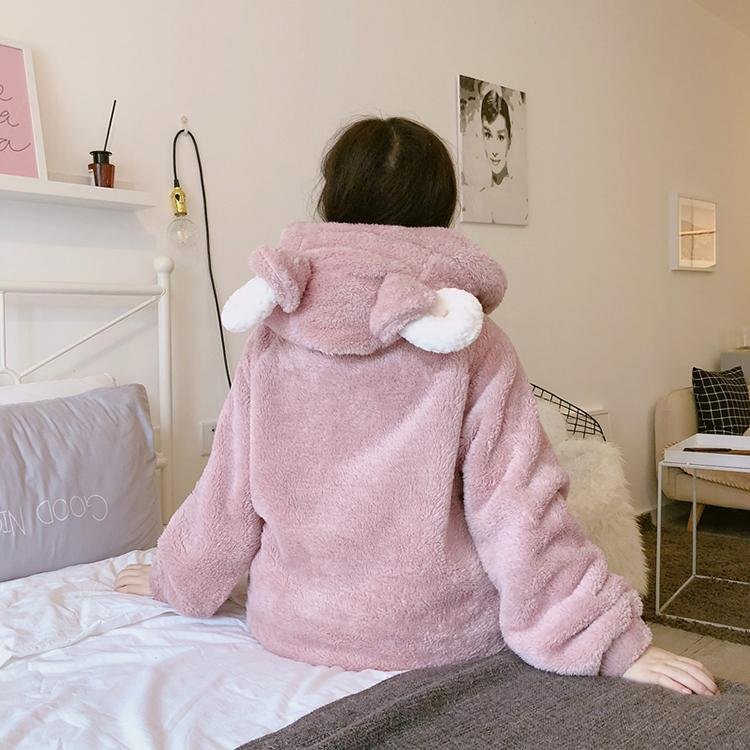PLUSH WARM SHEEP EARS PINK PAJAMA SUIT