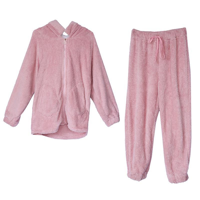 itGirl Shop PLUSH WARM SHEEP EARS PINK PAJAMA SUIT