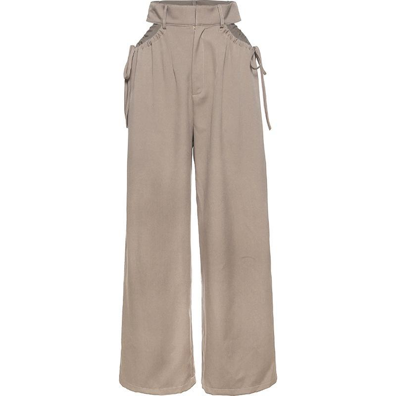 itGirl Shop POCKET CUT OUT HIGH WAIST DRAWSTRING KHAKI PANTS