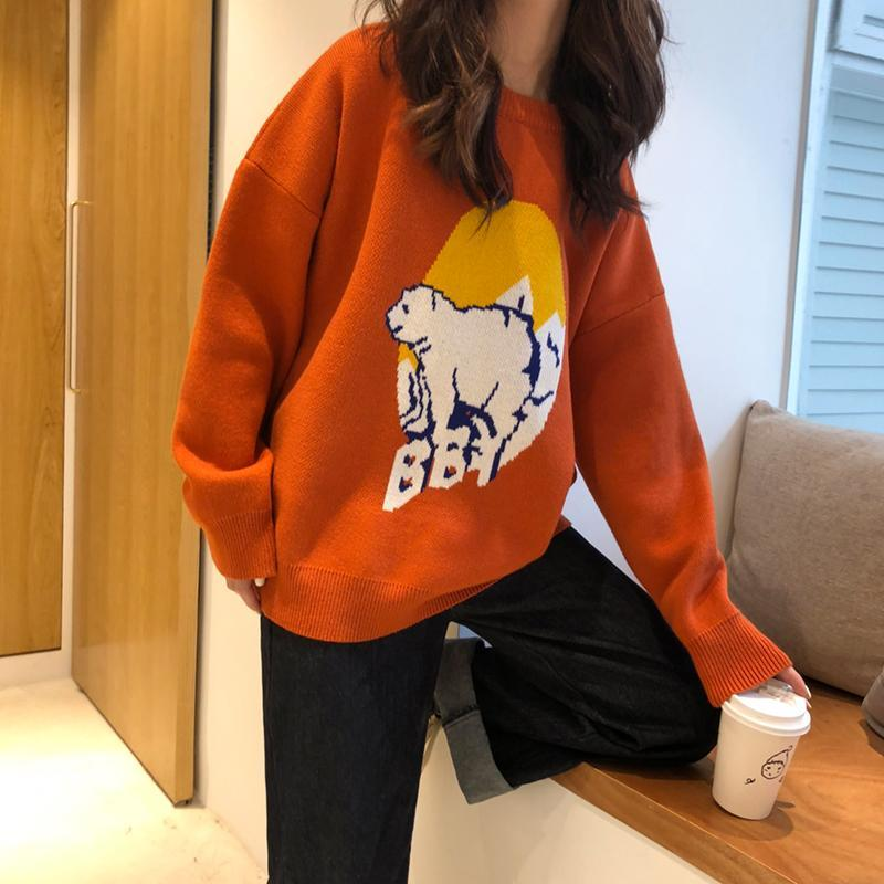 itGirl Shop POLAR BEAR KNIT BLACK ORANGE LOOSE SWEATER