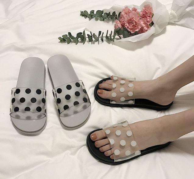 itGirl Shop POLKA DOT PRINT TRANSPARENT SUMMER FLAT RUBBER SANDALS