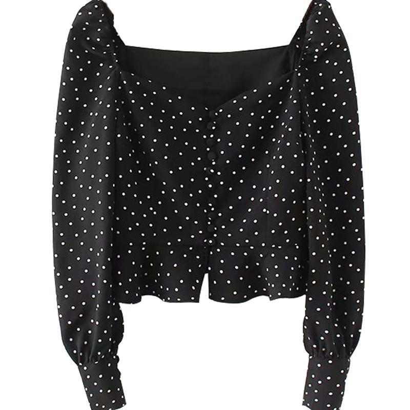 itGirl Shop POLKA DOT RETRO FLARED SLEEVES BLACK BLOUSE