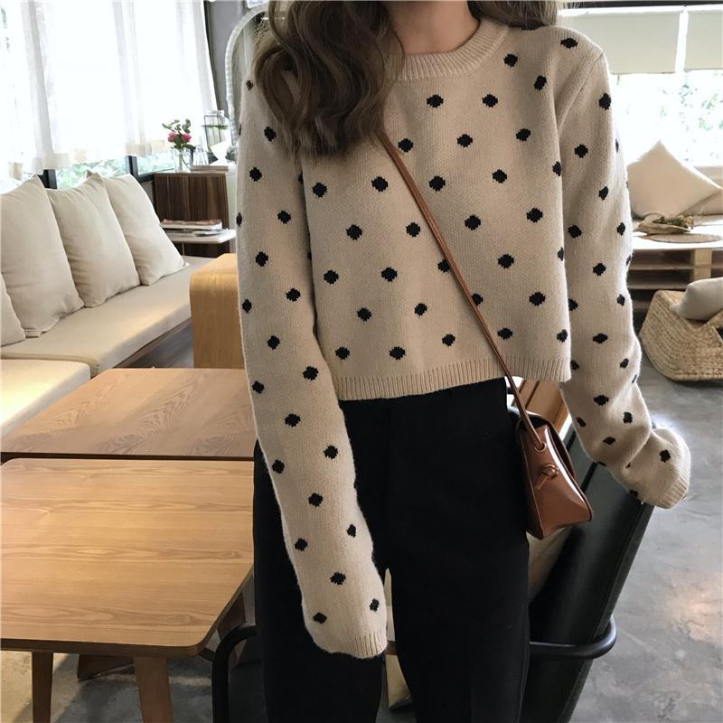POLKA DOT WHITE BLACK PULLOVER CROPPED SWEATER