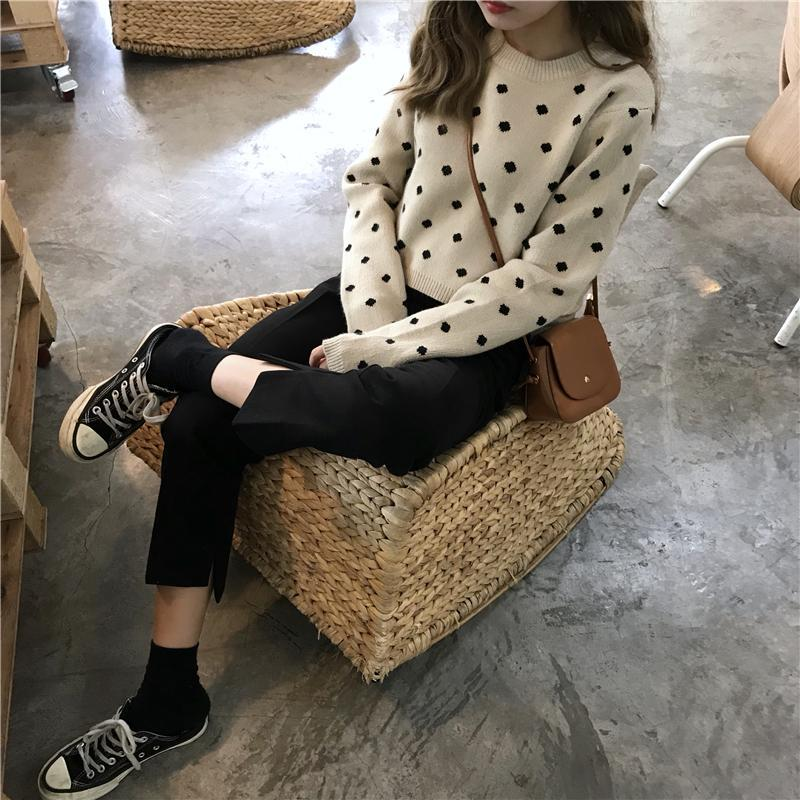 itGirl Shop POLKA DOT WHITE BLACK PULLOVER CROPPED SWEATER